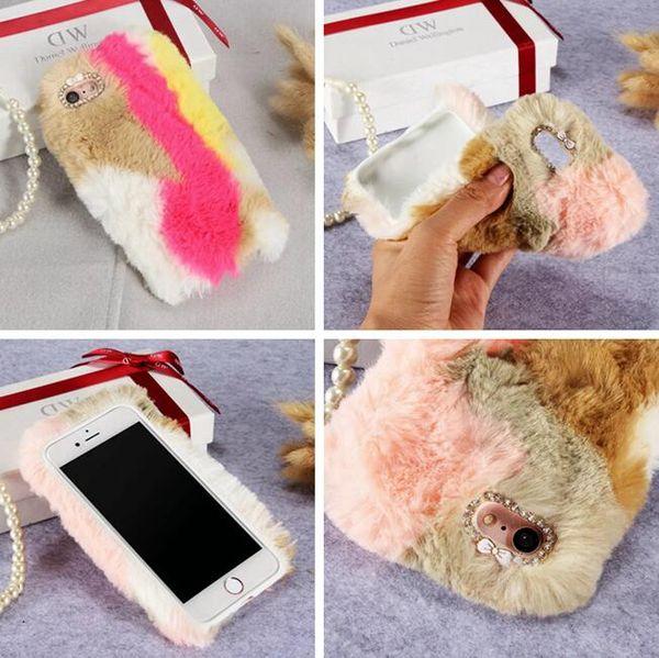 Diamant Fuzzy Rabbit Hair Fur TPU Fall für iPhone 8 7 Plus 6 6 S SE 5 5 S LG G5 Huawei P9 Lite Ehre 8 bunte Mode Plüsch-Telefon-Abdeckung 7pcs