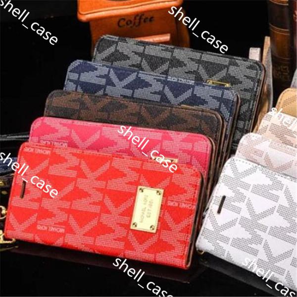 Étui portefeuille de luxe en cuir PU pour iphone x 7 8 6 6 s ainsi que des étuis avec fente pour carte avec lanière, étui pour Samsung s7 s8 note 8
