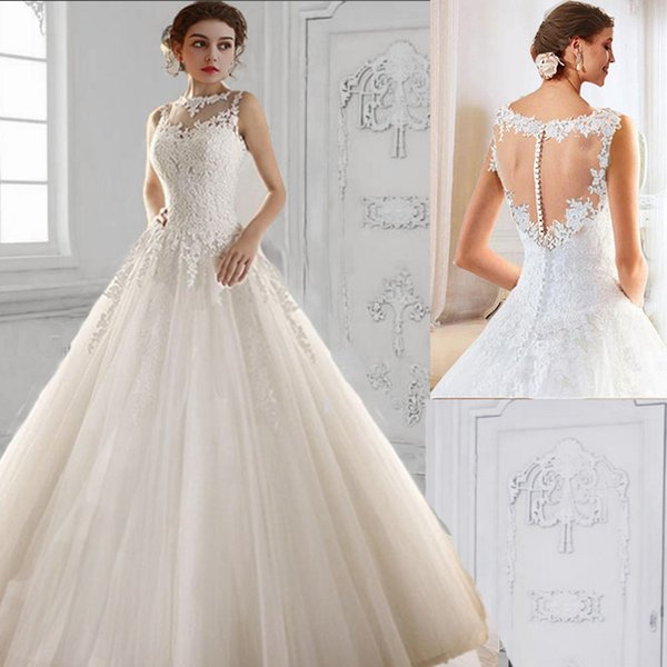 2017 hot lace White Ivory A-Line Wedding Dresses for bride gown Appliques Vintage plus size maxi Customer made size 2-24W