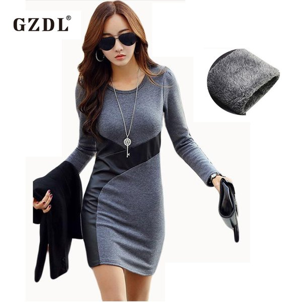 b58e9e1c4d8644 Wholesale- GZDL XS-XXL Women Autumn Winter Dresses Long Sleeve PU Leather  Bodycon Pencil Party Cocktail Mini Dress Vestido De Festa CL2116