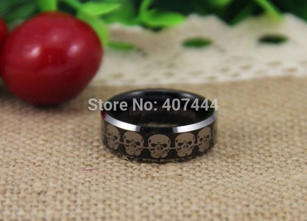 Free Shipping USA UK Canada Russia Brazil Hot Sales 8MM Black Top Silver Beveled Skulls Link Men's Lord Tungsten Wedding Rings q170717