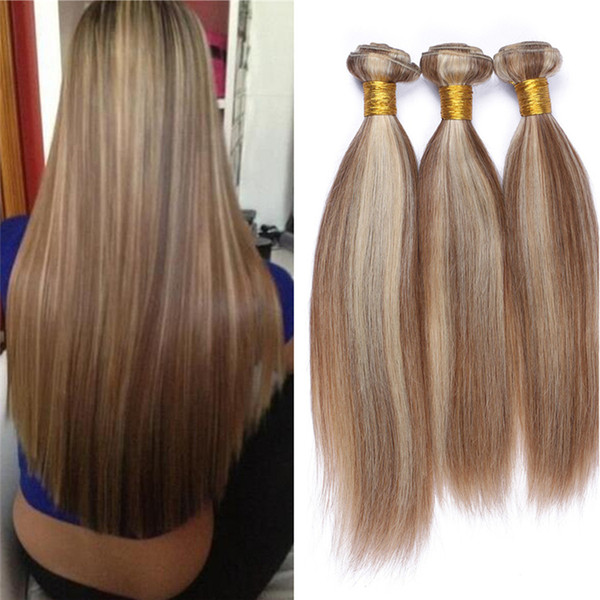 Brazilian Virgin Human Hair Bundles 3Pcs Mix Piano Color #8 #613 Silky Straight Hair Weft Medium Brown And Blonde Hair Extensions 10-30 Inch