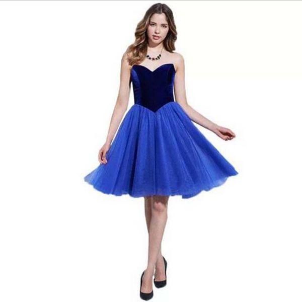 Späteste Schulter-erstaunliches Cocktailkleid-Knie-Längen-Samt-Mieder-Mode-Kleid-Mädchen Vestido de Coctel