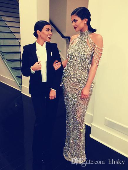 best selling Celebrity dress Evening dress Labourjoisie Sheath Silver Crystal High Neck Yousef aljasmi Kylie Jenner Zuhair murad Kim kardashian