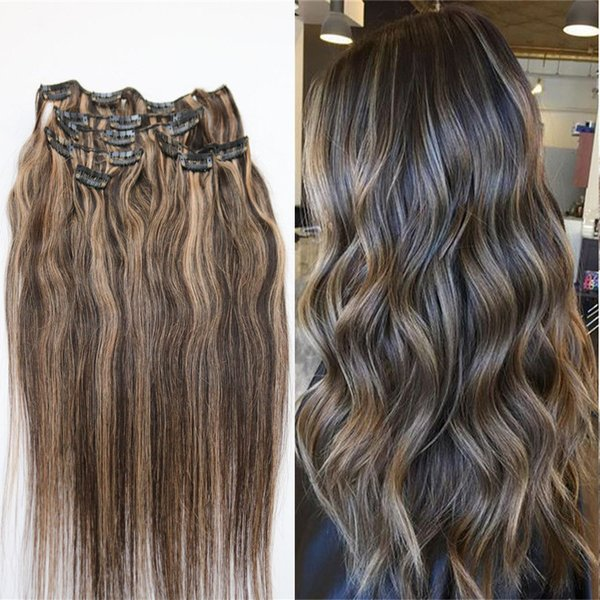 Highlight Clip In Human Hair Extensions Straight Dark Brown With Honey Blonde #2/27 Virgin Indian Remy Hair Clip Ins 7pcs 100g