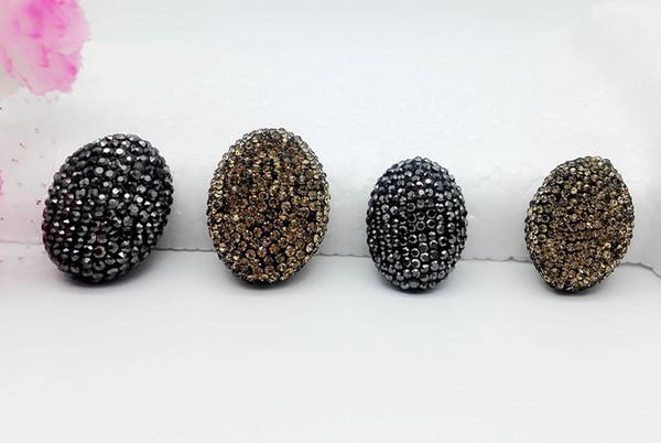 10PCS Big Hole Spacer Beads Inlaid Rhinestone Crystal Fit DIY Bracelet Making