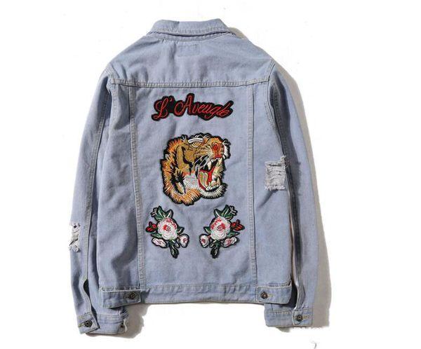 walmartdiscount / Tiger Embroidery Ripped Men Women Denim Jackets Fashion Design European Style kanye yeezus Men's Jacket 2 Colors