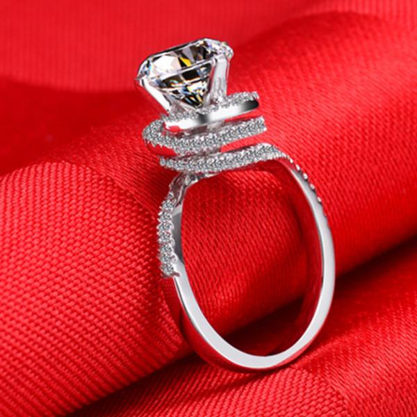 Vintage 2CT Synthetic Diamond Bridal Ring Sterling Silver Jewelry Girl Love Best Anniversary Day Jewelry Best Gift For Sweetheart