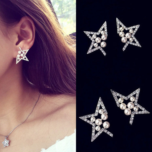 best selling Ladies pearl diamonds hollowed out five-pointed star earrings earrings wholesale free shipping