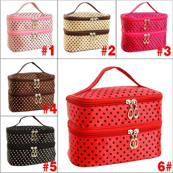 Double-deck Women Fashion Cosmetic Bag Big Travel Lingerie Bra Underwear Dot Bags Makeup Toiletry Storage Organizer Case