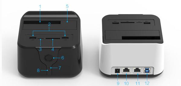 Vente en gros- 2016 routeur wifi sata hdd 3.5 2.5 USB 3.0 station d'accueil stockage externe disque dur boîtier boîtier de disque dur TF lecteur de carte SD