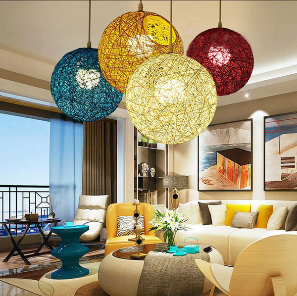 Hand-Woven Wicker Ball Modern Chandelier Art Pendant Light Nordic Modern Pendant Lamps Lead chandelier Light Dia 15cm/20cm/25cm/30cm/40cm