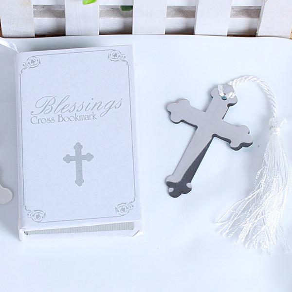 Kreuz Lesezeichen Mit Quaste Kreatives Design Delicate Box Verpackung Metall Silber Geburtstagsgeschenk Hochzeitsdekor Party Favor 2 1 tz F R