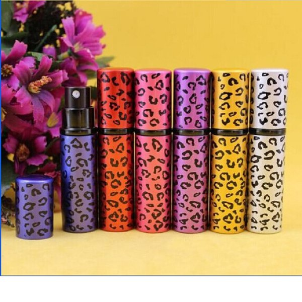 5ML Unisex Refillable Hot Colorful Leopard Print Metal Mini Perfume Bottle Perfume Atomizer 6 Colors WA2259