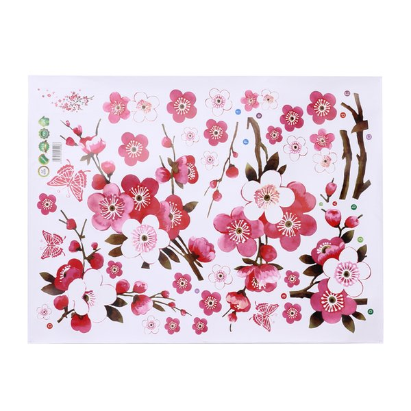 PVC beautiful sakura wall stickers living bedroom decorations diy flowers Peach blossom pvc home decals mural arts poster