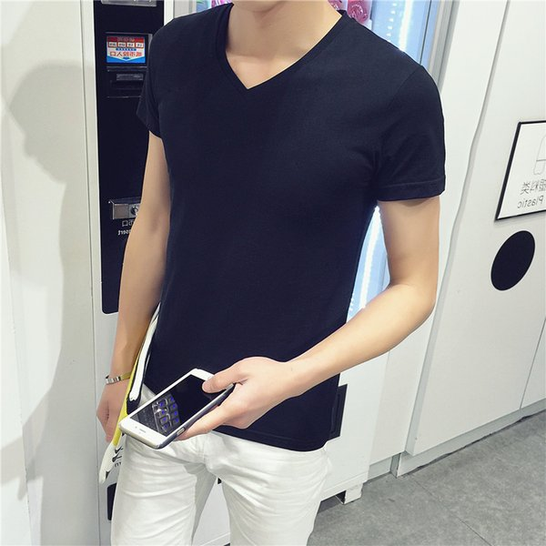 Wholesale- free shipping wholesale 2016 men solid color tshirt homme V-neck short sleeve t-shirt slim fit Korean men summer casual Shirt