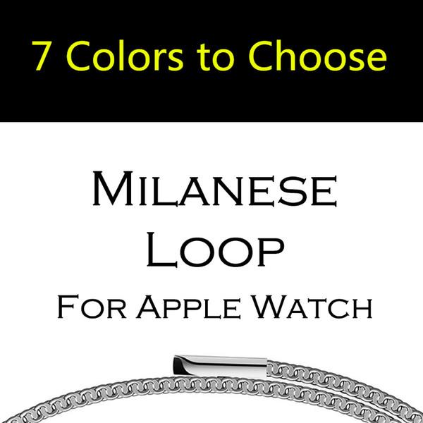 Pulsera de eslabones de la correa de lazo milanesa banda de acero inoxidable para Apple Watch Series 4 2 42mm 38mm Pulsera Correa pulsera de malla para iwatch 40/44 mm