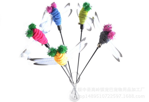 Wholesale Pet Product Pet Toys Cat Toys With Feather Cat Playing Stick Funny Dragonfly Tease Sticks