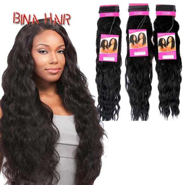 "BINA classic indian weave hair bundles Heat Resistant fiber 22"" curly weft sew in hair bundes extension"