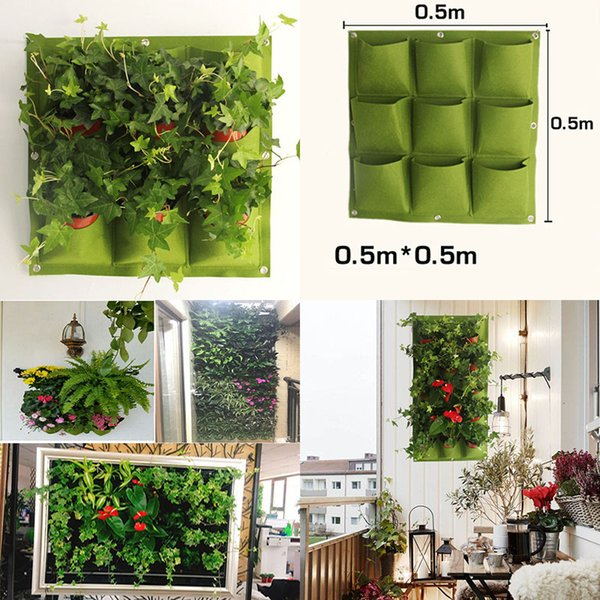New Indoor Outdoor Wall Hanging Garden Planter Vertical Felt Plant Pots Grow Flower Bags 9 Pockets planters home 0.5M*0.5M WX-P04