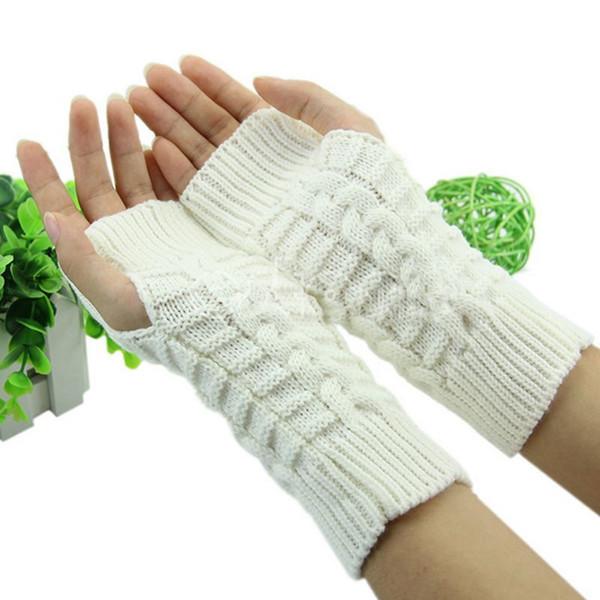 Wholesale- 3 colors Hot Sale Unisex Women Lady Knitted Fingerless Winter Half Finger Gloves Warm New