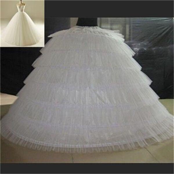 Nova marca Anáguas Grandes Branco Super Inchado Vestido De Baile Underskirt 6 Aros Longa Crinolina Deslizamento Para O Casamento Adulto / Vestido Formal