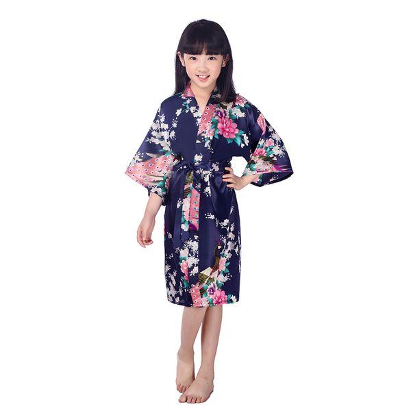 Toptan-Kız Ipek Saten Çiçek Kimono Robe Kısa Bornoz Moda Nedime Robe.