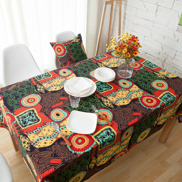 Bohemia Style Table Cloth Cotton U0026 Linen Print Rectangular Wedding Party  Supply Dinning Tablecloths Cover Home