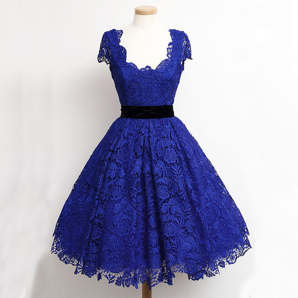 Royal Blue Lace Homecoming Dresses A Line Scoop Neck Short Sleeves Knee Length Homecoming Dress with Black Velvet Bow Sash Party Gown