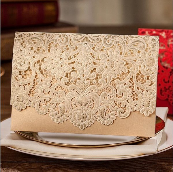 Wholesale white Personalized wedding invitation card new designed folding korean wedding invitation card laser cut hollow cards on hot sale