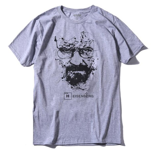 Walter White Tops Coton O-cou Heisenberg Hommes T-shirt À Manches Courtes Casual Breaking Bad Imprimer T Shirt Pour Hommes