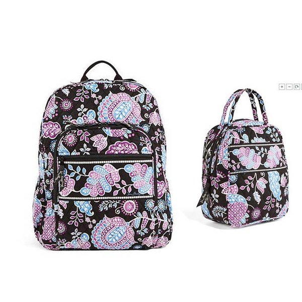 Cotton Flower School Bag Campus Laptop Backpack School Bag with lunch bag e679b5722831b
