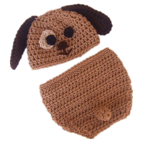 Very Cute Newborn Puppy Costume,Handmade Knit Crochet Baby Boy Girl Dog Animal Hat and Diaper Cover Set,Toddler Halloween Photography Prop