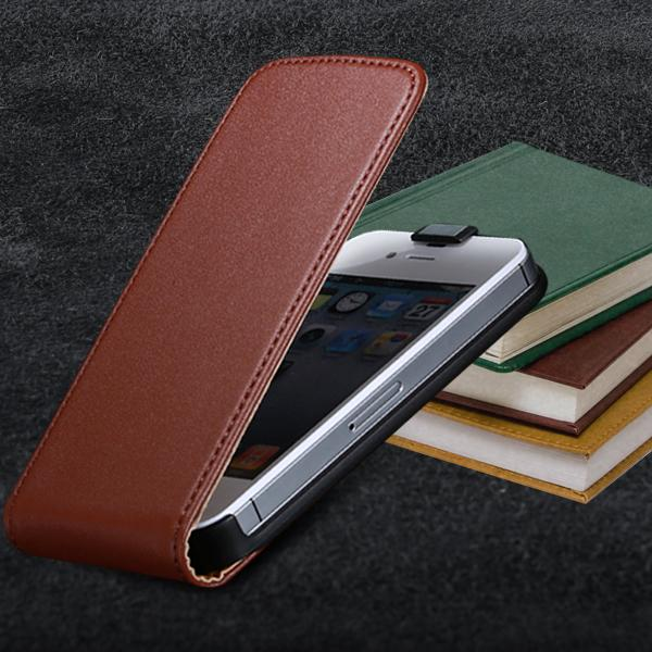 Genuine Leather Vertical Flip Mobile Phone Case For Apple iPhone 4S 4 4G Ultra Slim Korean Style Cover For iPhone 4 4S