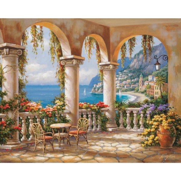пейзажи искусство средиземноморская арка Medi Archway по Sung Kim сад масляной живописи холст высокого качества ручная роспись