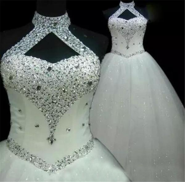 best selling High Neck Halter Crystals Sequins Tulle Lace up Back Floor Length Bridal Gowns Custom Made Ball Gowns Plus Size Wedding Dresses