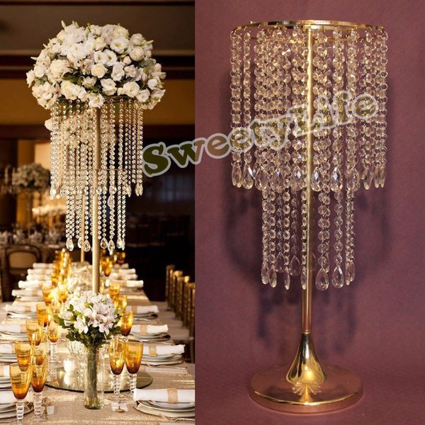 62cm H Wedding Crystal Table Centerpiece Gold Flower Stand Chandelier 10pcs Lot