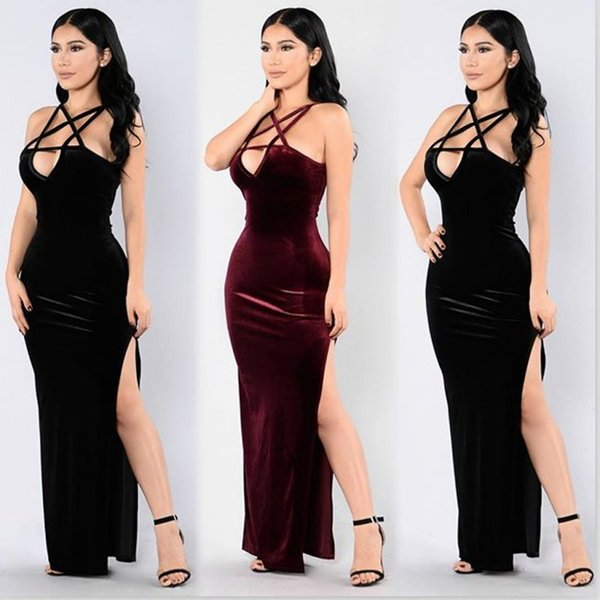 Latest Fashion Velvet Women Formal Party Dress In Stock Real Picture Halter Neck Sleeveless Side Split Lady Dress Free Shipping