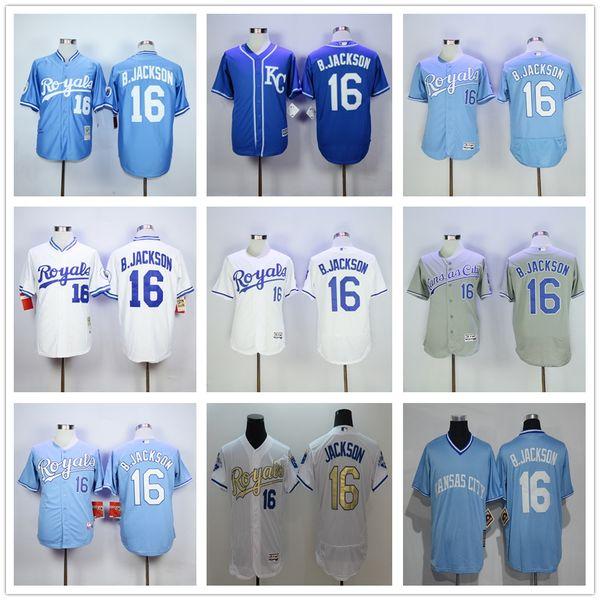buy popular 37fd3 0cf50 2019 Wholesale KC Royals Jerseys 16 Bo Jackson Jersey Flexbase Kansas City  Royals Baseball 1985 1987 Turn Back Auburn Blue White From Chenrong168520,  ...