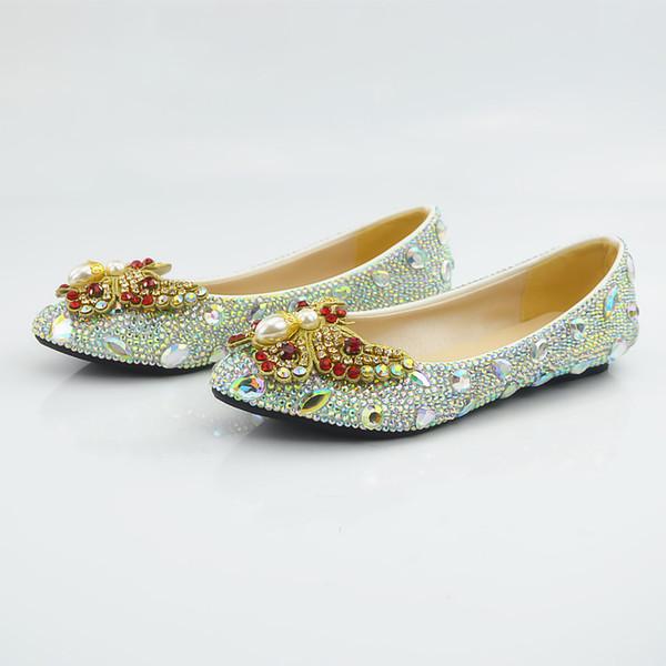 Großhandel Perlen Damen Pumps Ponted Toe Luxus Prom Abend Schuhe Cinderella Schuhe Nigh Club Party Schuhe Mit Gold Red Strass Großhandel 244 Von