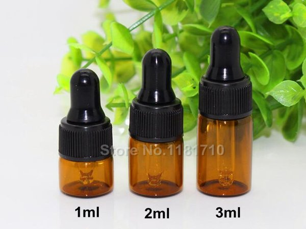 Al por mayor- 50pcs / lot Mini 1ml 2ml 3ml Amber Glass Dropper Bottle Aceite esencial Viales de exhibición Pequeño suero Perfume Brown Sample Test botella