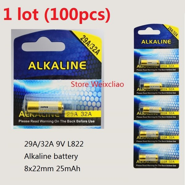 100pcs 1 lot 32A 29A 9V 32A9V 9V32A 29A9V 9V29A L822 dry alkaline battery 9 Volt Batteries card Free Shipping