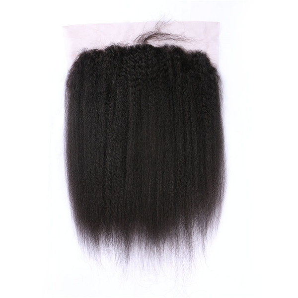 13*6inch Kinky Straight Human Hair Frontal Lace Closures Free Part Virgin Coarse Yaki Lace Frontals Baby Hair