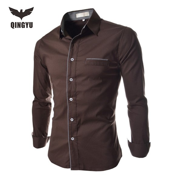 Wholesale- Men Shirt Luxury Brand 2016 Male Long Sleeve Shirts False Pocket Slim Fit Black Dress Shirts Mens Hawaiian Camisa Masculina 2XL