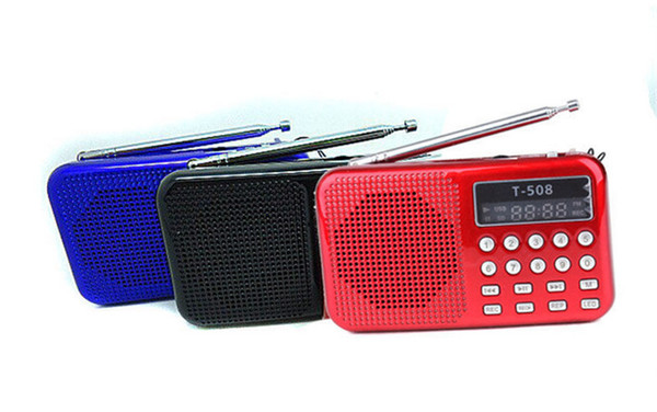 Wholesale-Mini Portable Rechargeable Digital LED Display Panel Stereo FM Radio Speaker USB TF for SD Card MP3 Music Player Black/Blue/Red@