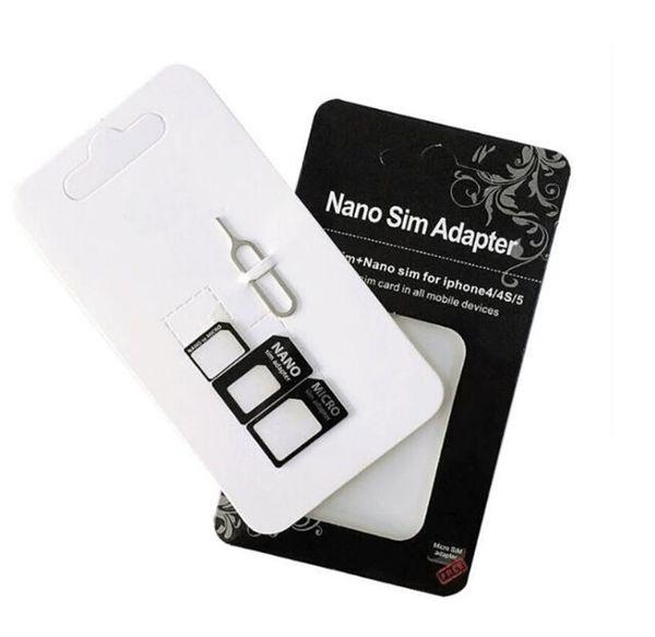 2017 Noosy Nano Sim Card Adapters Micro Converter 4 en 1 Set Kit Expulsar Pin Pick para teléfono celular Android iPhone 4 5 6 7 Negro Blanco Caja al por menor