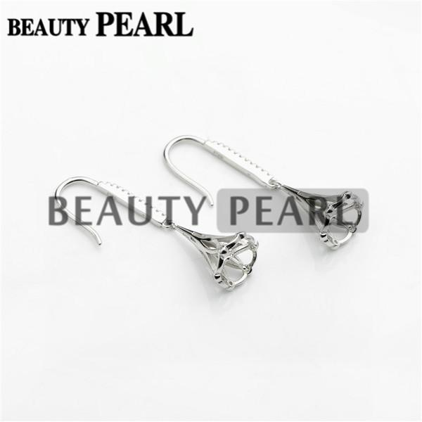 Bulk of 3 Pairs Earrings Setting for Round Pearls or Cabochons 925 Sterling Silver Zircon Earring Blanks
