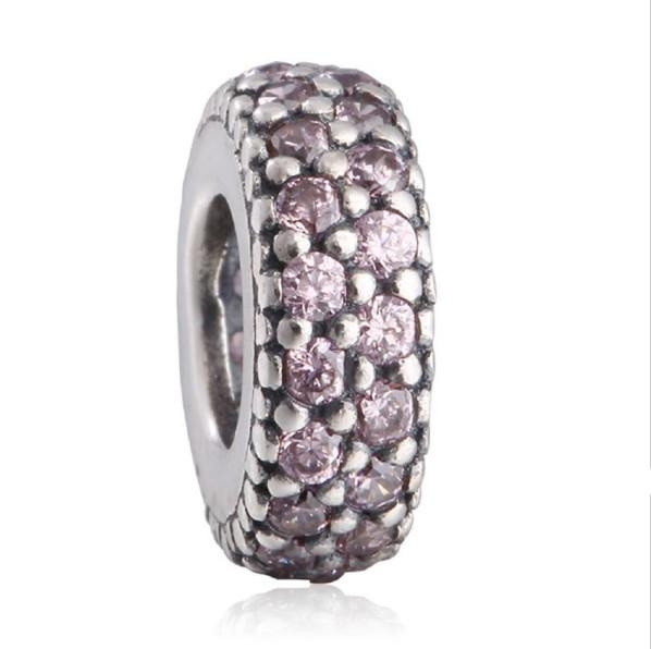 TopeasyJewelry 925-Sterling-Silver Pink CZ Pave Big Hole Crystal Spacer Charm Beads For Women Bracelets DIY Jewelry Making