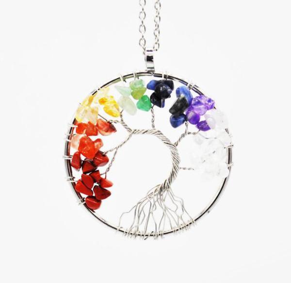 Women Rainbow 7 Chakra Amethyst Tree Of Life Quartz Chips Pendant Necklace Multicolor Wisdom Tree Natural Stone Necklace Free Shipping