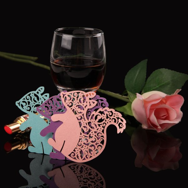 60pcs/lot Free Shipping Laser Cut lovey squirrel Wine Glasses Paper Wedding invitation Place Seat Name cup Cards for Party Table Decorations